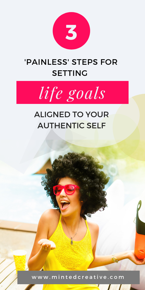 African woman with afro and pink sunglasses with test overlay - 3 Painless steps For Setting Life Goals Aligned To Your Authentic Self