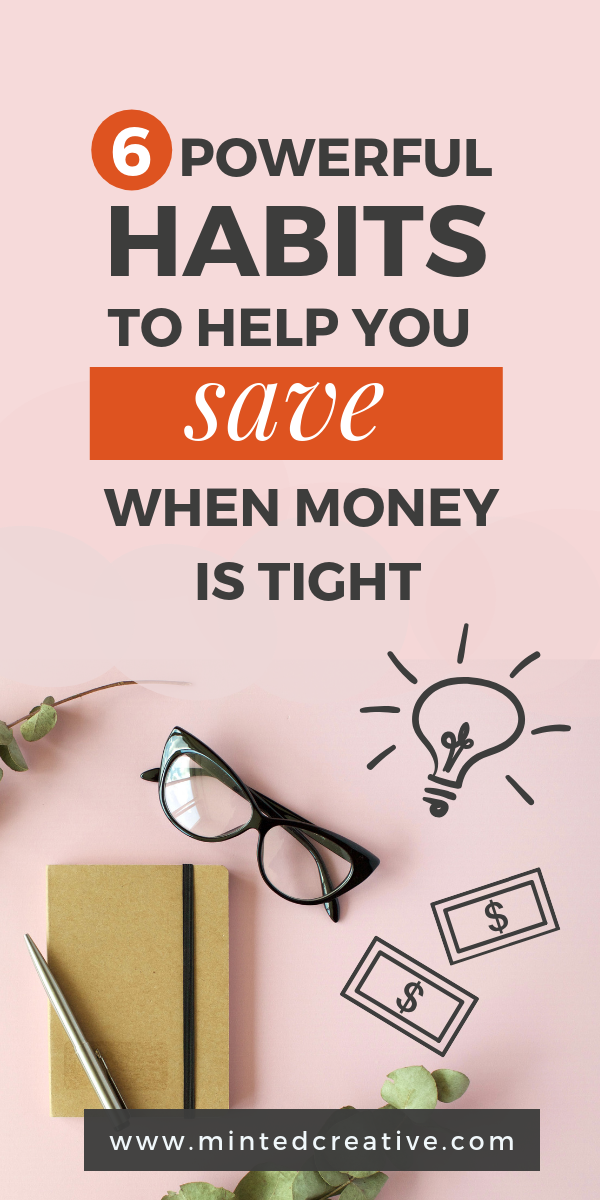 journal and glasses flat lay image with text overlay - 6 amazing ways to save when money is tight