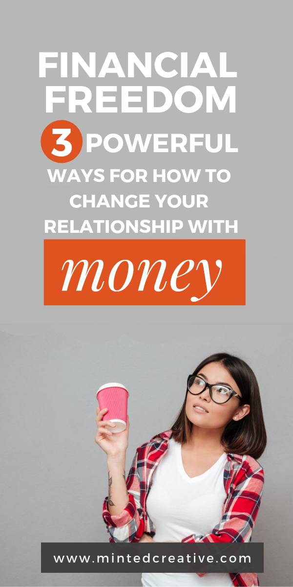 brunette woman in lumber jack shirt, wearing glasses holding coffee cup with text overlay - Financial freedom: 3 powerful ways to change your relationship with money