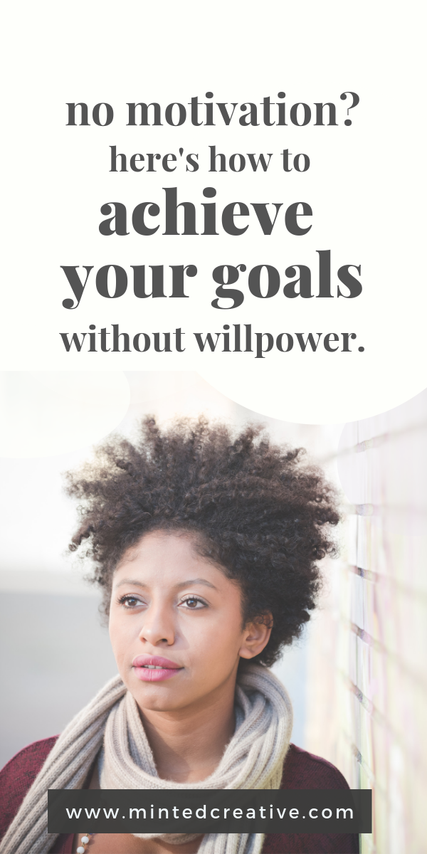 portrait of african american woman with text overlay - no motivation? here's how to achieve your goals without willpower
