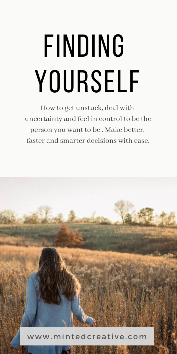 girl walking in filed with text overlay - finding yourself. how to get unstuck, deal with uncertainty and feel in control to be the person you want to be. make better, smarter and faster decisions with ease.