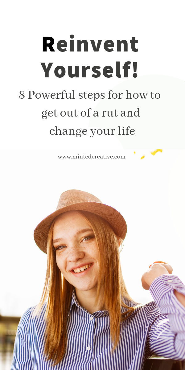 Portrait of smiling brunette waring a hat with text over lay - reinvent yourself! 8 powerful steps for how to get out of a rut and change your life.