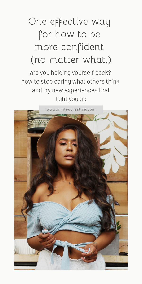 portrait of african american woman with text overlay - One effective way for how to be more confident (no matter what.) are you holding yourself back? how to stop caring what others think and try new experiences that light you up